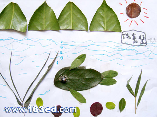 景物的剪贴画-树叶粘贴画风景篇 自由8