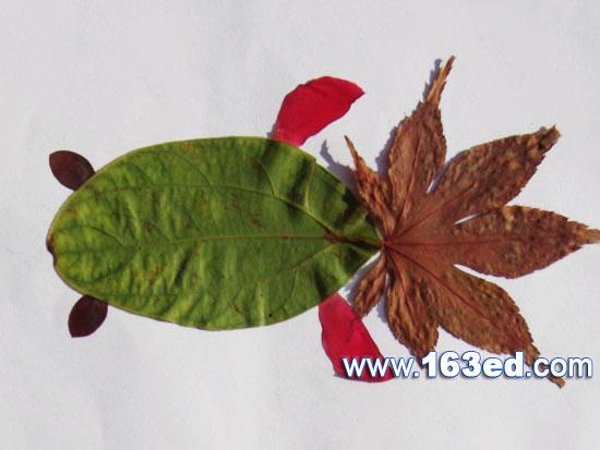 树叶粘贴画游鱼篇 金鱼26