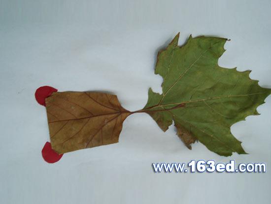 树叶粘贴画游鱼篇 树叶鱼3