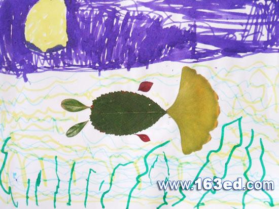 树叶粘贴画游鱼篇 树叶鱼5