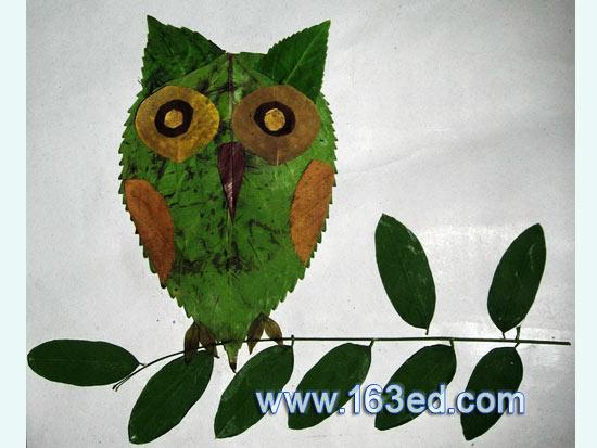 树叶粘贴画 猫头鹰6