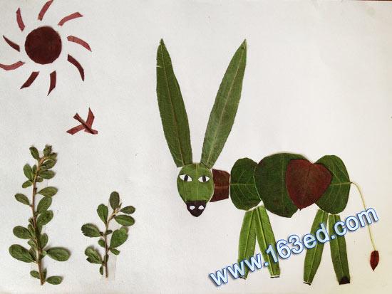 幼儿手工树叶贴画:长耳朵牛-树叶贴画 长耳朵牛