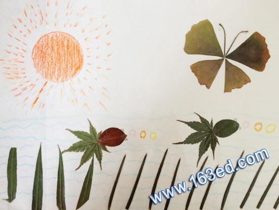 幼儿手工树叶贴画 春日阳光