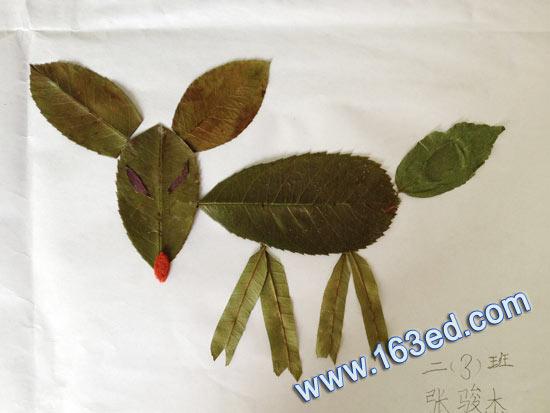 幼儿手工树叶贴画:狐狸的休闲-树叶贴画 狐狸的休闲