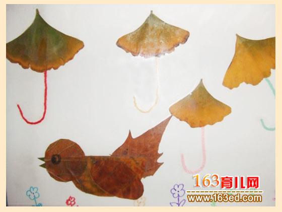 飞翔的小鸟 树叶粘贴画