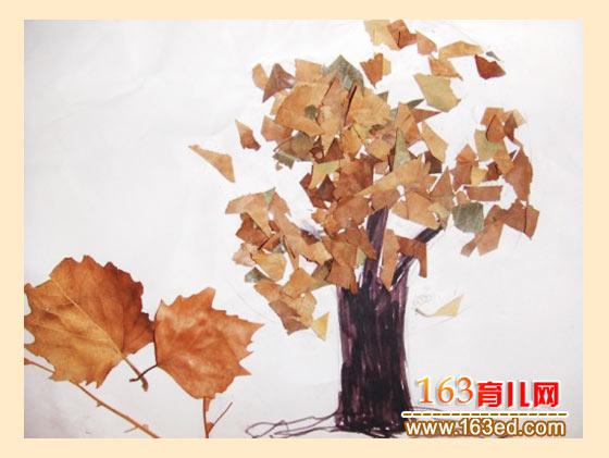 秋天的大树 树叶粘贴画