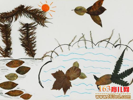 太湖风景 树叶粘贴画