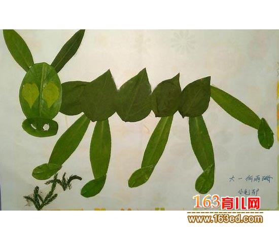可爱的毛驴 树叶粘贴画