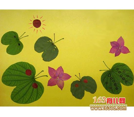 自然之蝶 树叶粘贴画