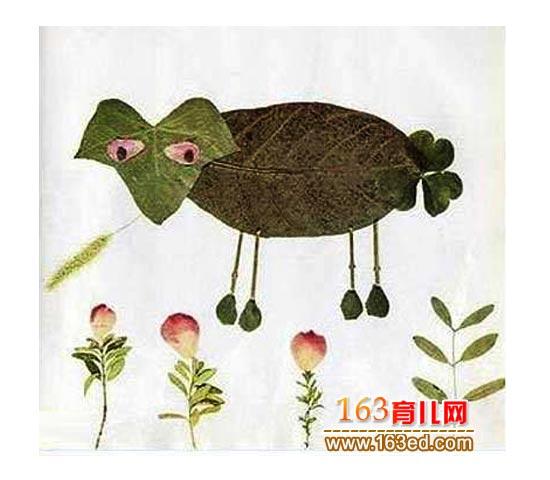 吃草的牛 树叶粘贴画图片