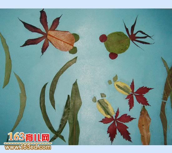 小鱼聚会 树叶粘贴画图片