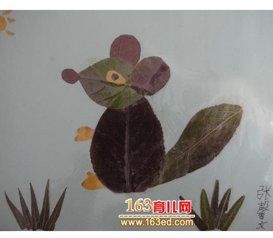小老鼠 树叶粘贴画图片