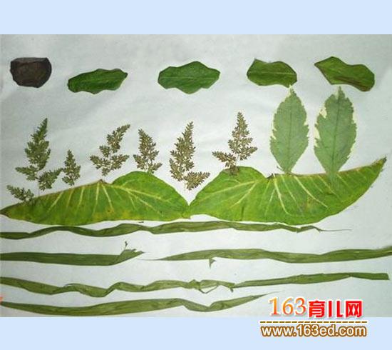 美丽风景 树叶粘贴画图片 1