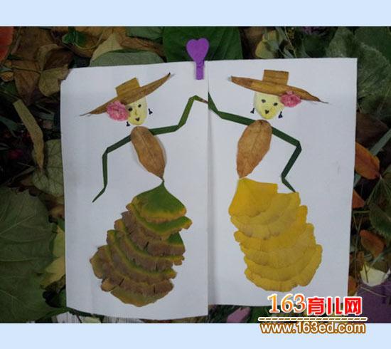 跳舞人 树叶粘贴画图片