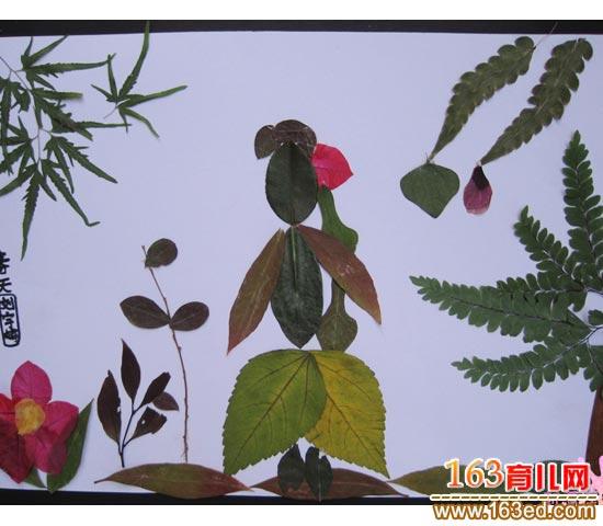 古典美女 树叶粘贴画图片