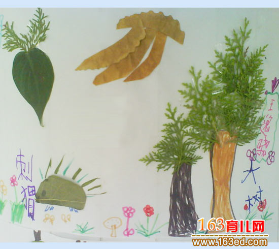 树叶粘贴画作品 香蕉和树图片