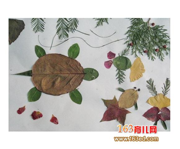 树叶粘贴画作品 乌龟和小金鱼