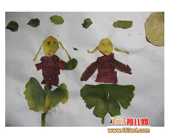 树叶粘贴画作品 快乐的小女孩