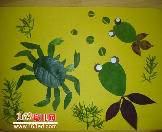 绿叶螃蟹 树叶粘贴画作品