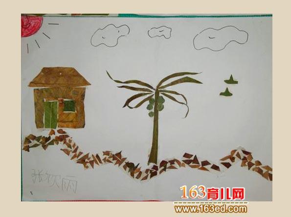 漂亮的家 树叶粘贴画作品