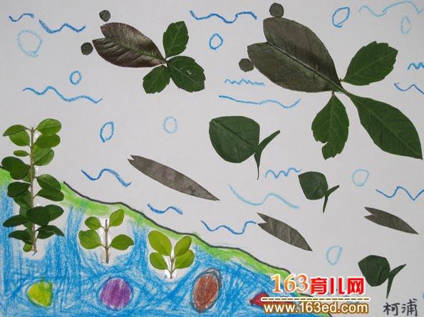 小鱼赛跑 树叶粘贴画作品