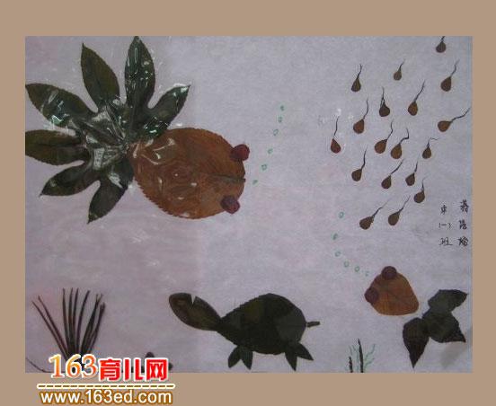 小乌龟和鱼 树叶粘贴画作品