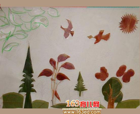 树梢上的大雁 树叶粘贴画作品