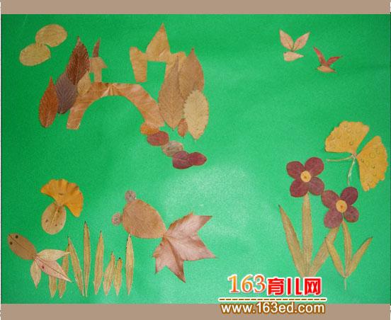蝴蝶和鱼 树叶粘贴画作品