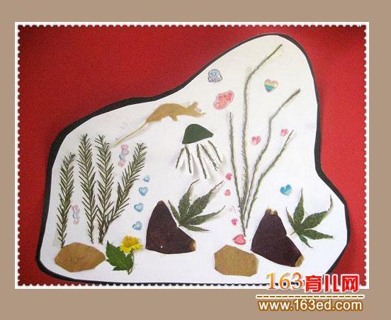 儿童树叶粘贴画作品 金鱼和水草