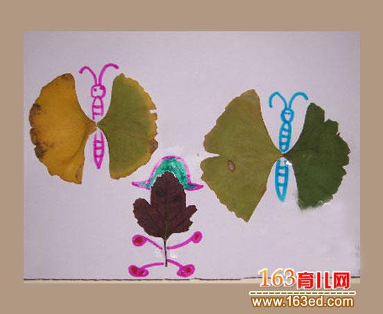 儿童树叶粘贴画作品 两只蝴蝶