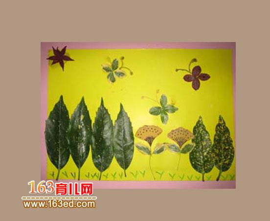 儿童树叶粘贴画作品 花间蝴蝶