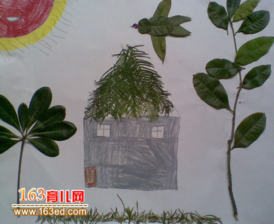 儿童树叶粘贴画作品图片 小鸟回家