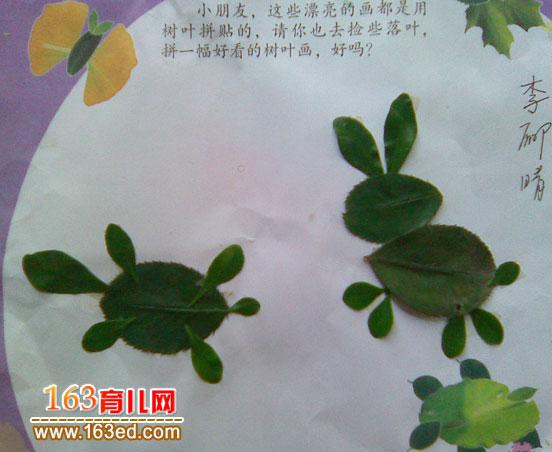 儿童树叶 粘贴画 作品 龟兔赛跑 树叶贴画