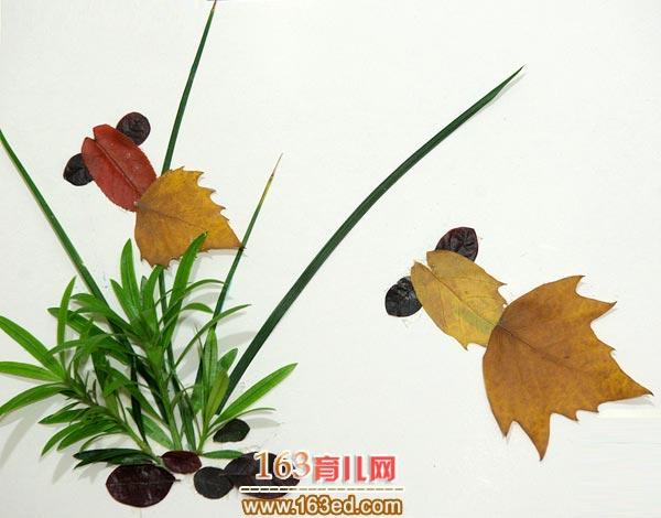 鱼 儿童树叶粘贴画作品图片