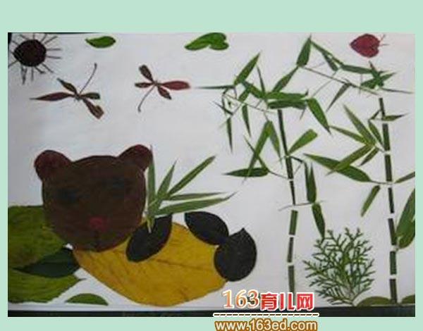 儿童树叶粘贴画作品 竹林里的熊猫