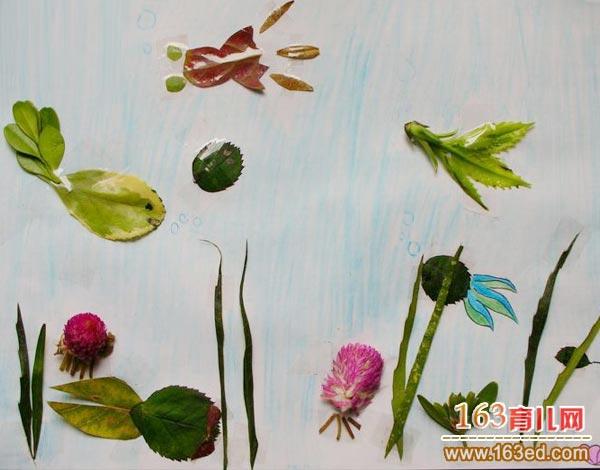 儿童树叶粘贴画作品 一群快乐的小鱼