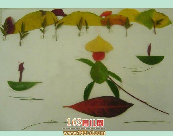 童话人物剪贴画-儿童树叶粘贴画作品 一个勤劳的打鱼人