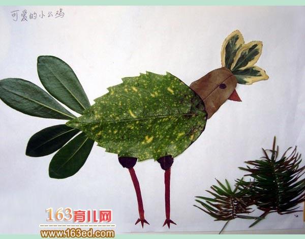 幼儿树叶粘贴画作品 一只大公鸡